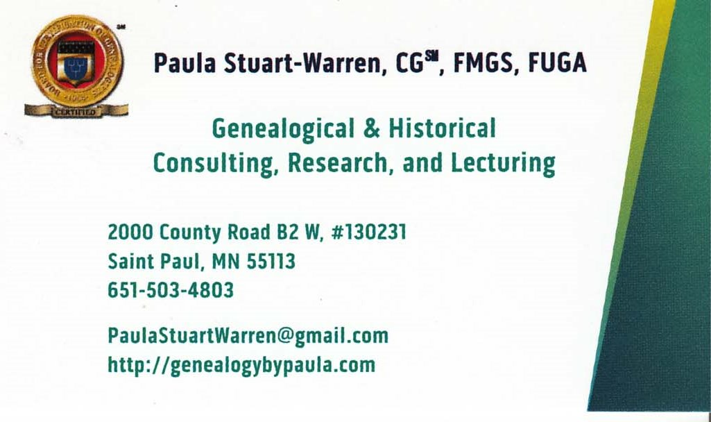 My New Business Card for 2015 and Beyond | Genealogy by Paula