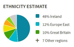 Ancestry DNA estimate pie chart